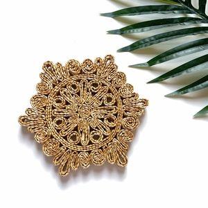 Vintage Accents - Vintage Wicker Woven Straw Raffia Floral Trivet